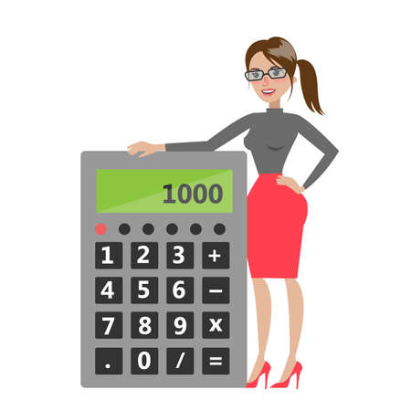 Woman with calculator. Illustration