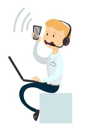 telephone cartoon: Isolated call agent.