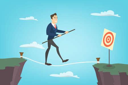 Businessman tightrope walker. Illustration