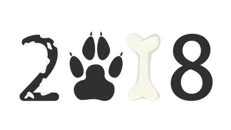 background next: 2018 dog illustration.
