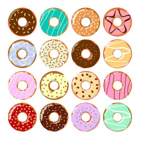 Colorful donuts set. Illustration