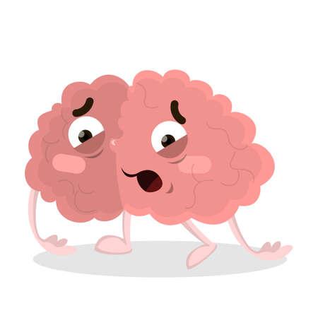 Na białym tle zmęczony mózg.