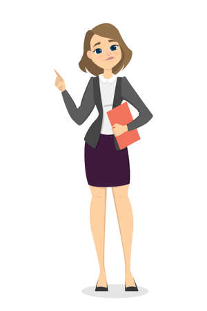 came: Isolated businesswoman pointing. Illustration