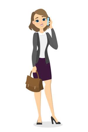 telephone cartoon: Woman talking phone.