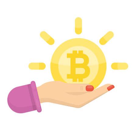 Bitcoin in hand.