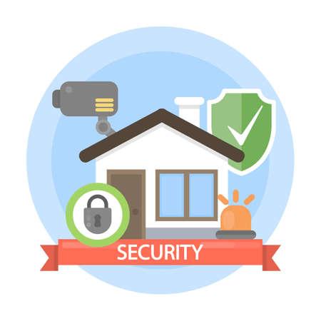 Huis beveiliging illustratie. Stock Illustratie