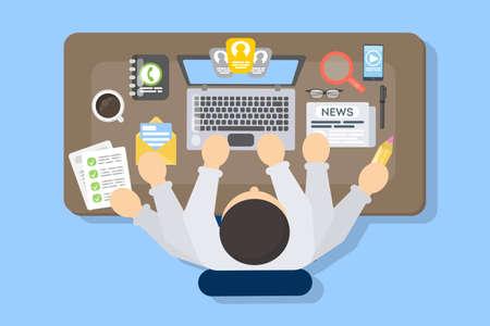 Empresario multitarea en el trabajo. Ilustración de vector