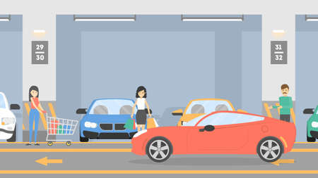 Underground parking lot. Illustration
