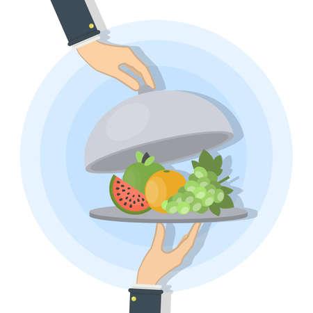 Food on tray. Illustration