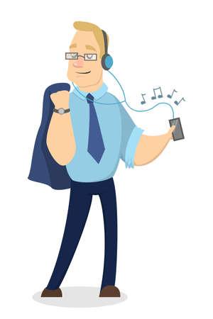 telephone cartoon: People listen music.