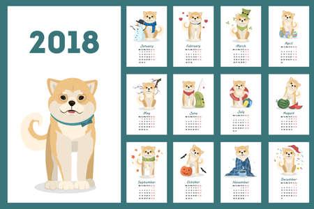 芝犬のカレンダーです。  イラスト・ベクター素材