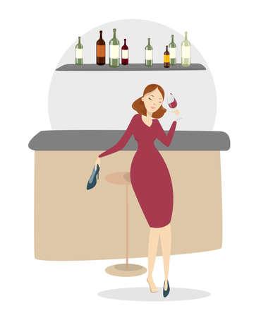 Drunk woman in bar.