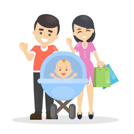 Happy isolated family. Illustration