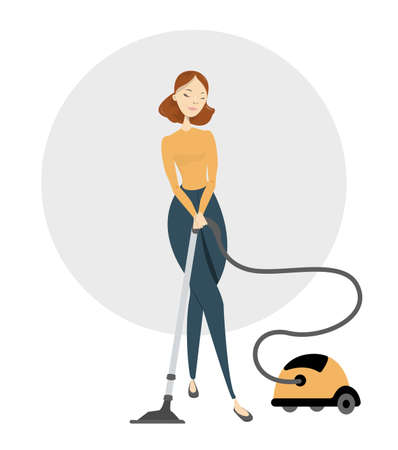 Isolated woman vacuuming.