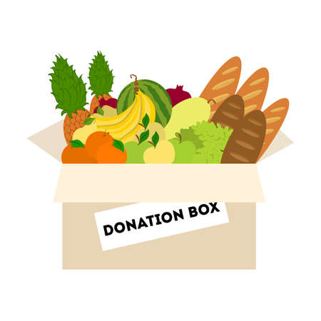 Scatola per donazioni alimentari.
