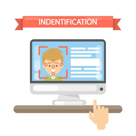 Face identification illustration. Man with face recognition. Illustration
