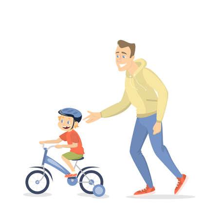 teaches: Children teaching cycling.