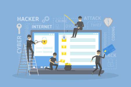 Hackers robbing computer. Illustration