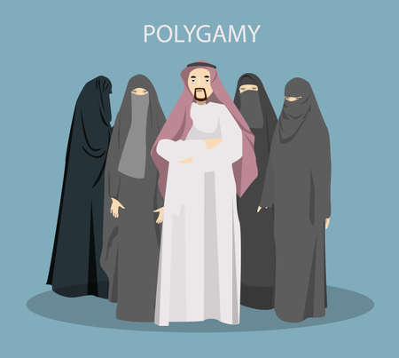 Polygamy concept illustration. Illustration