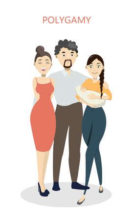 Polygamy concept illustration. Çizim