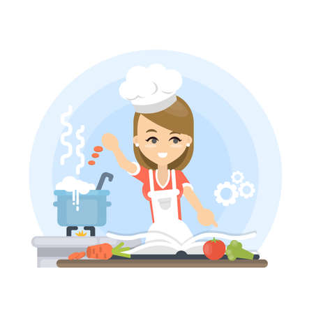 Woman teaching to cook. Illustration