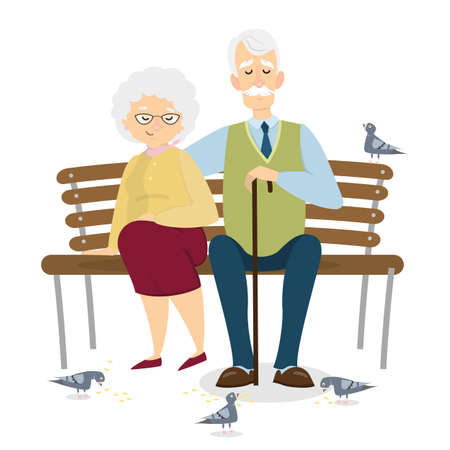 Old couple sitting.