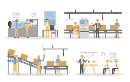 Mensen in de fabriek. Stock Illustratie