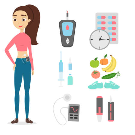 Woman with diabetes. Illustration