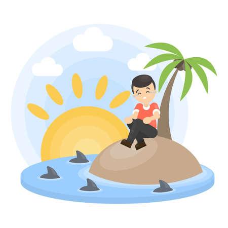 Alone on island. Illustration