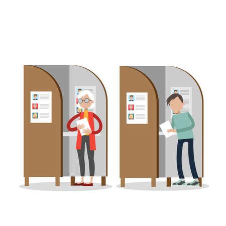 Leute in Wahlkabinen. Vektorgrafik