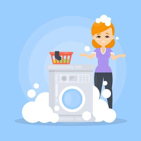 Machine à laver cassée. Vecteurs