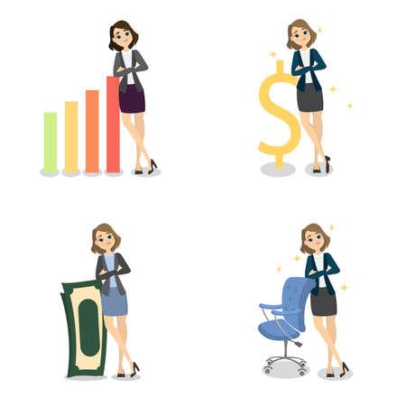 Successful businesswoman set. Illustration