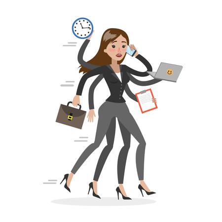 Businesswoman in a rush. Illustration