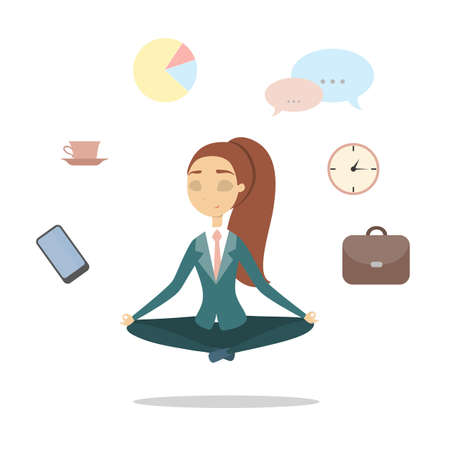 Isolated meditating businesswoman. 矢量图像