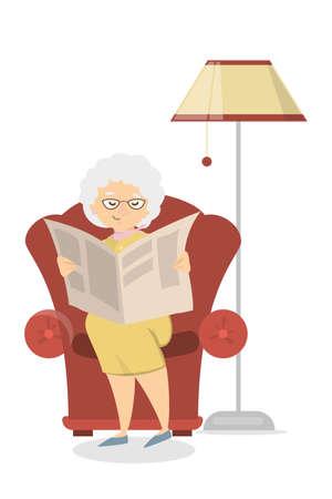 Old woman reading. Illustration