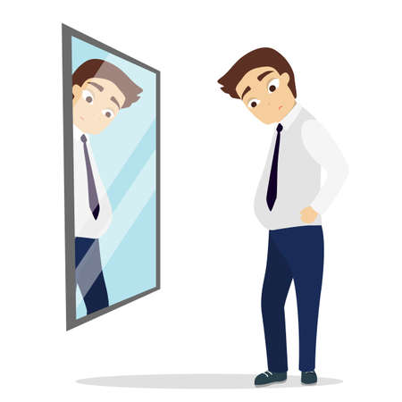 Man looking at the mirror.