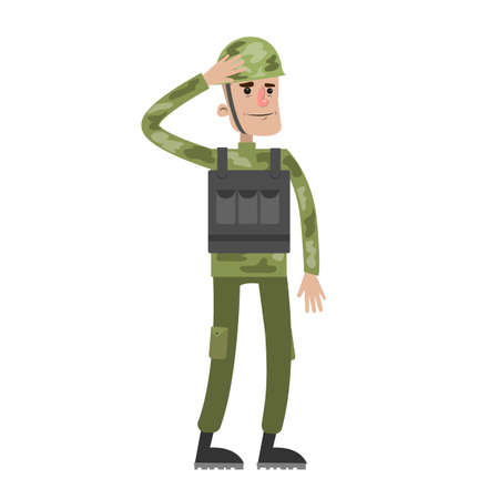 Isolated soldier in uniform.