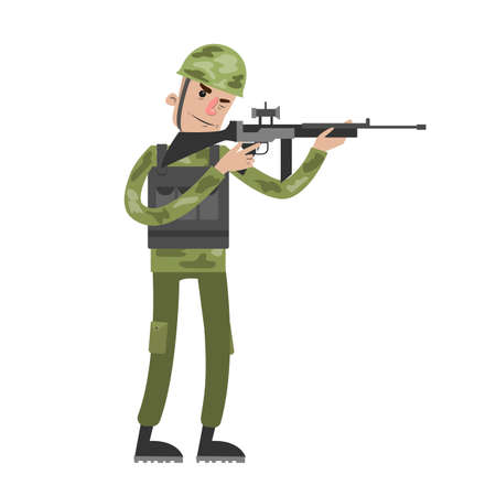 Isolated soldier with gun.