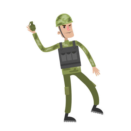 Isolated soldier with bomb. Illustration