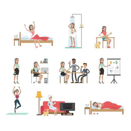 Dames dagelijkse routine. Stock Illustratie
