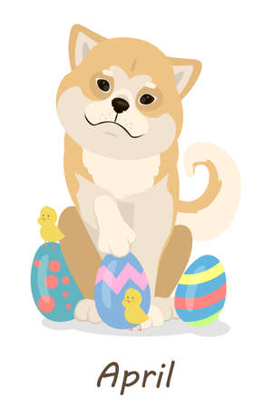 Shiba Inu dogs calendar. April month with dog and easter eggs.