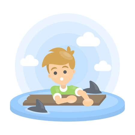 Man with sharks. Çizim