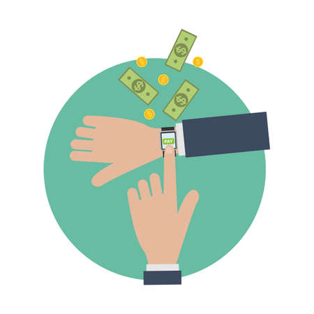Payment with smart watch. Illustration