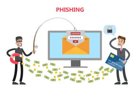 Phishing concept illustration. Stock Illustratie