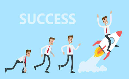 Successful businessman on rocket. Illustration