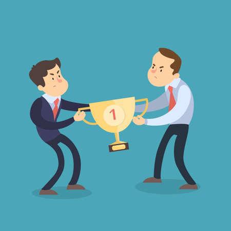 Fighting businessmen for trophy. Illustration