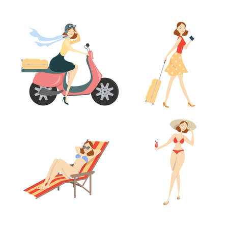 Woman on vacation set. 矢量图像