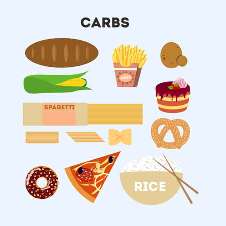 Carb food set. Illustration