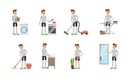 Cleaning activities set.