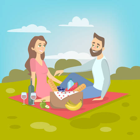 Couple at picnic.